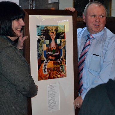 Frida with Peggy and Jimmy at The Taybridge BarPeggy Marra and mine host of The Taybridge Bar Jimmy Marr with Michael's portrait of Frida Kahlo Visit to The Howff.