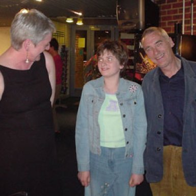 Skeggy Girl and Ailsa looking awestruckMichael with Carolyn and Ailsa at 2005 Winchester Gig.
